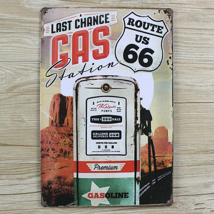 Metal Tin signs Vintage bar home coffee wall art decor Route 66 license plate Retro poster 20*30 CM Free shipping YT-00526