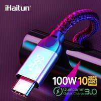 IHaitun Luxe 100W Type C à Type C Câble 5A QC 3.0 4.0 USB 3.1 Gen2 10 Gbit/S Vitesse Rapide Chargeur Rapide 4K HD Câble USB Type-c PD