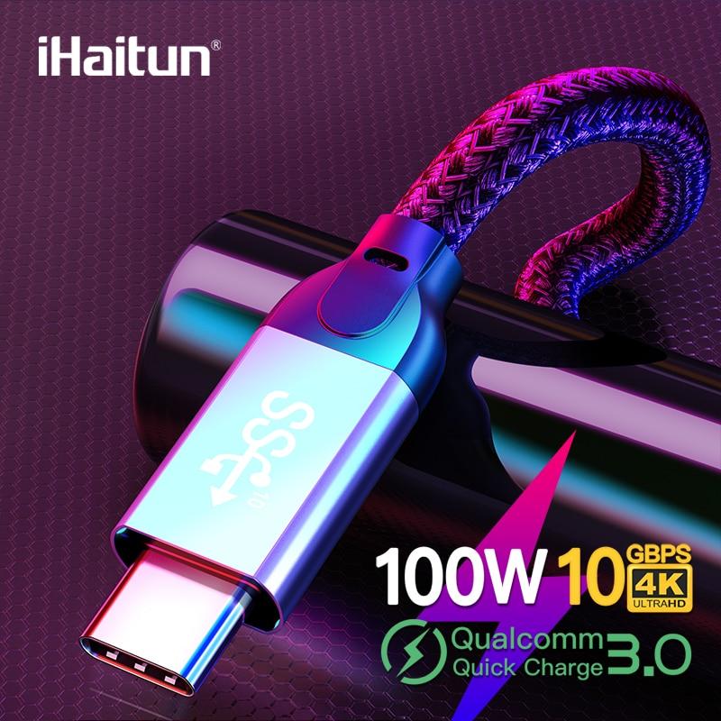 IHaitun Luxo 100W Tipo C para Tipo C Cabo 5A QC 3.0 Velocidade 4.0 Gbps USB 3.1 Gen2 10 carregador rápido Rápido 4K HD Tipo de Cabo-USB C PD