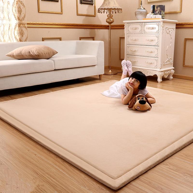 Simple japonais tatami tapis corail polaire velours chambre tapis épaissir enfants enfants tapis de jeu lving chambre tapis ramper grand tapis