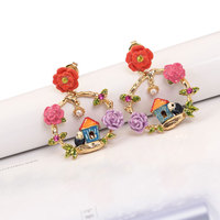 Europe And The United States Creative National Wind Flower House Bird Enamel Women Open Ring Earring