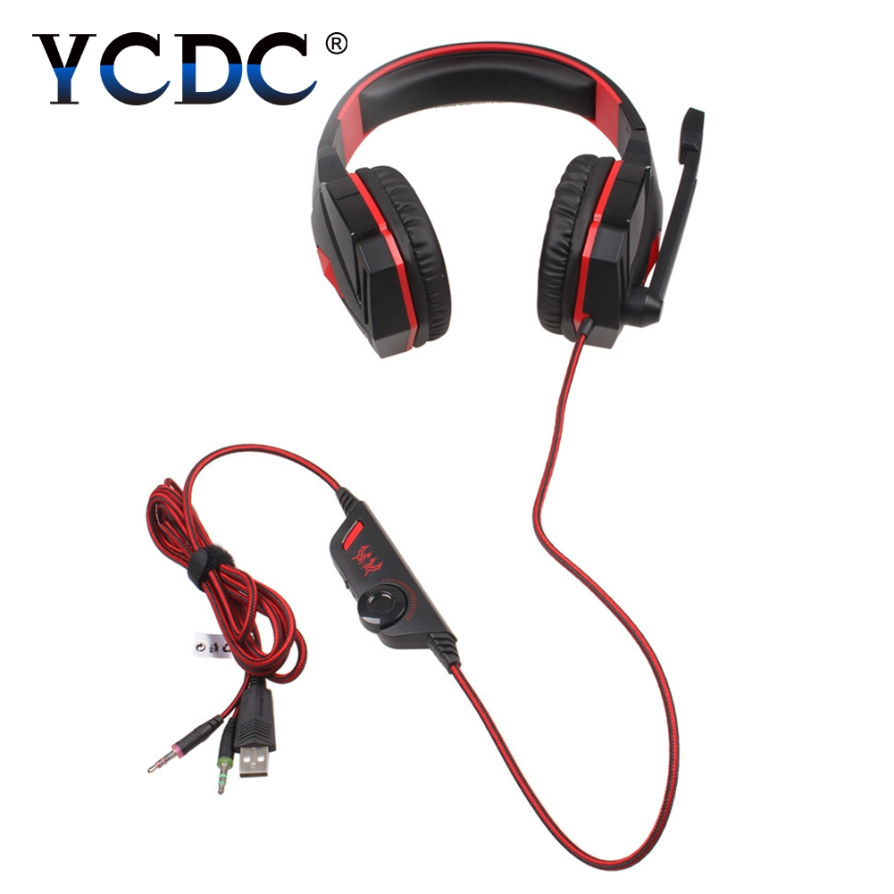 Ecouteur KOTION G4000 3.5mm Gaming Headphone Casque Headset+Mic+Red LED Line Control for PC Game DOTA / Rye Pioneer / LOL 50w 25 led red