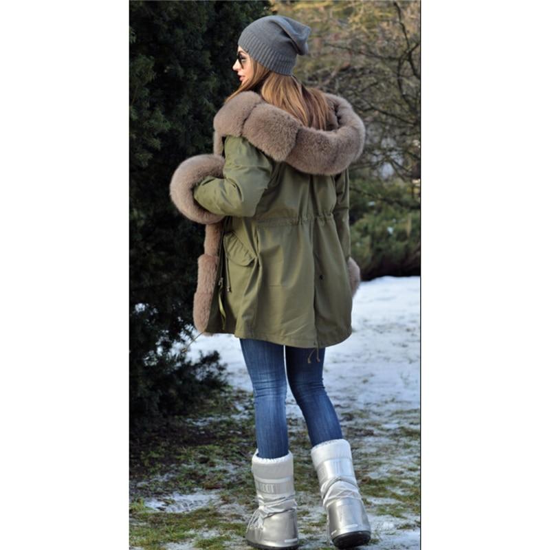 Image 5 - Tatyana Women Real Fur Parka Coat Fox Fur Collar And Cuff Women's Parkas Thick Winter Warm Natural Fur Jacket Long Fox Fur Coats-in Real Fur from Women's Clothing