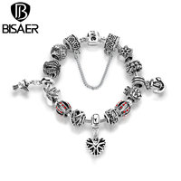 VOROCO Antique Silver Plated Openwork Snowflake Heart Pendant Anchor Safety Chain Bracelets Bangles Jewelry Accessories PA1507