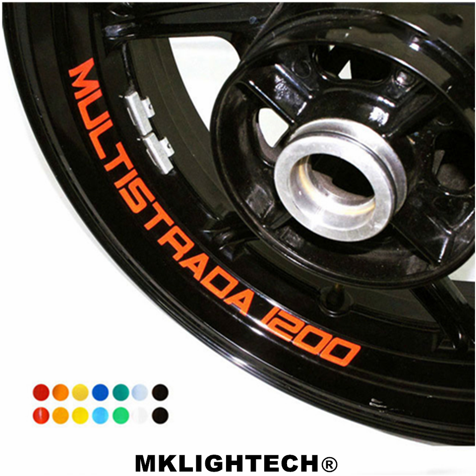 k-sharp 8 X CUSTOM INNER RIM DECALS WHEEL Reflective STICKERS STRIPES FIT DUCATI MONSTER 1200