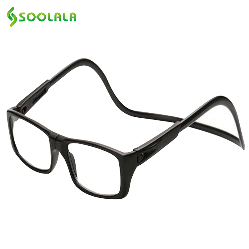 SOOLALA New Foldable Magnetic Reading Glasses Click Hang Around Never Loose for Woman and Men Neck Wear Glasses Reader +1 to +4
