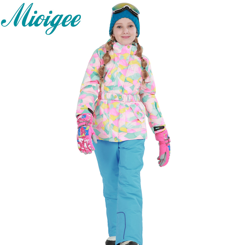 Mioigee 2017 Children set Girls Outdoor Hooded Jackets+Ski Pants Kid winter warm sports suit Waterproof waterproof kids clothes