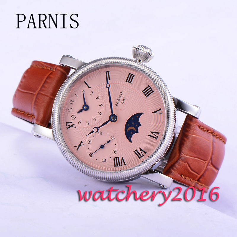 Parnis 43mm GMT Mechanical Hand-winding Moon phase White Dial Blue Hands Mens Wrist WatchParnis 43mm GMT Mechanical Hand-winding Moon phase White Dial Blue Hands Mens Wrist Watch