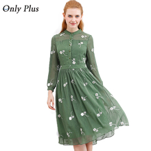 Только плюс новые Дизайн осень свежий цветок зеленый платье с принтом с длинным рукавом спиннинг изысканный Ткань элегантное женское Повседневное платье