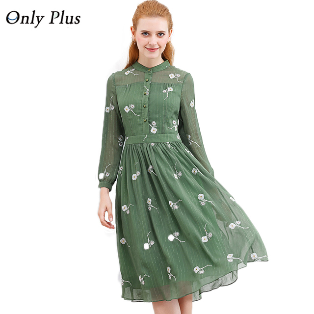 ONLY PLUS New Design Autumn fresh Flower Green Print Dress Long Sleeve Spinning Exquisite Fabric Elegant Women Casual Dress