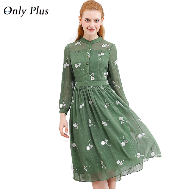 ONLY PLUS New Design Autumn fresh Flower Green Print Dress Long Sleeve Spinning Exquisite Fabric Elegant Women Casual Dress