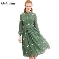 ONLY PLUS New Design Autumn Fresh Flower Green Print Dress Long Sleeve Spinning Exquisite Fabric Elegant