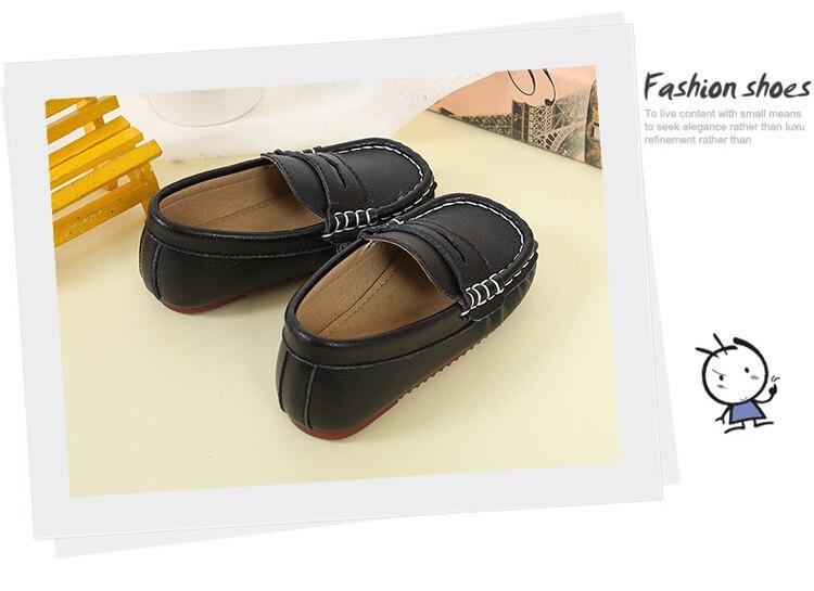 Nova Couro Preto Sapatos Crianças Sapatos de