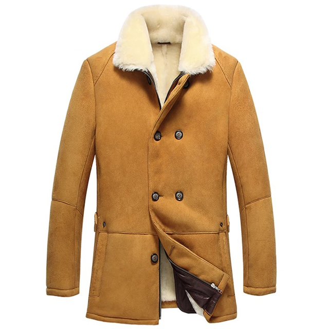Leather suede sheepskin coat men genuine sheepskin leather jacket