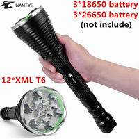 24000Lumen 12* XML T6 LED Police Flashlight Torch 5 Modes Outdoor Tactical Flash lights 18650 26650 Camping Hunting lamp