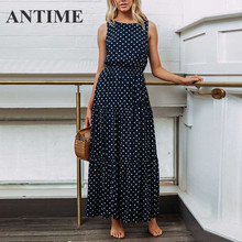 ANTIME Summer Maxi Women Dress Spring O Neck Sleeveless Polka Dot A Line Casual Female High Waist Elegant Yellow Pleated Dresses