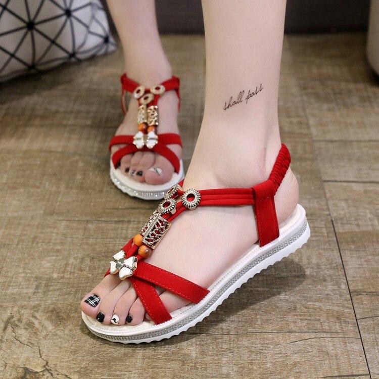 2017 Hot Fashion Bohemia String Bead Women's Shoes, Girl Platform Flat Heels Sandals,lady Comfortable Summer Beach Flip Flops