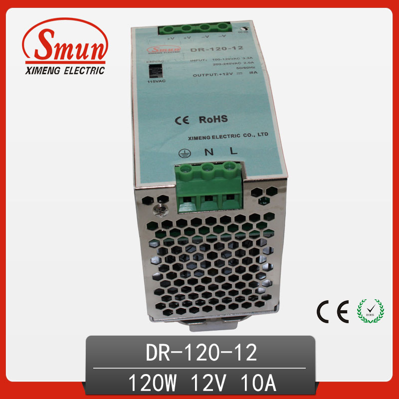 120W 12V 10A Single Output AC-DC Indoor Din Rail Switching Mode Power Supply DR-30-12 With CE RoHS 120w 12v din rail single output switching power supply dr 120 12