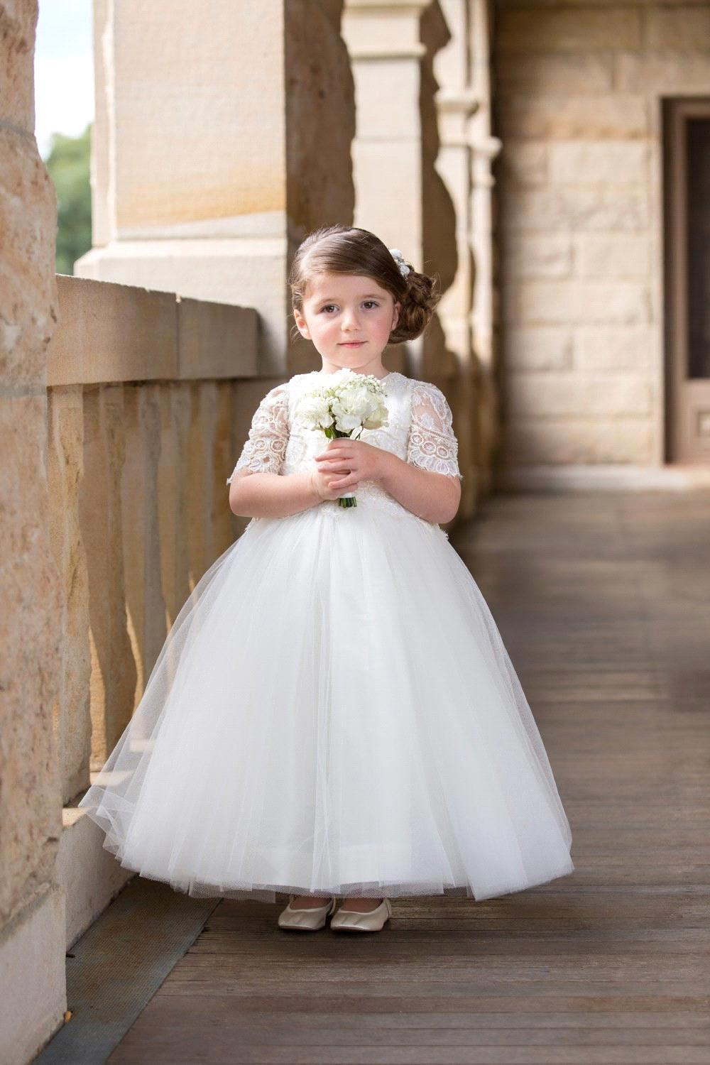 Us 128 43 Cute White Ivory Ball Gown Lace Flower Girl Dresses 2017 For Wedding Short Sleeves First Communion Dresses For Girls In Flower Girl