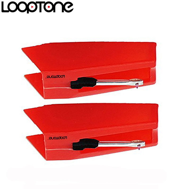 LoopTone 2PCS Sapphire Tipped Seramik Jarum untuk Vinyl LP Rekod Player Turntable Players, Aksesori Gramophone