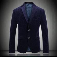 Men Blazer The Britishs Style Vetvel Suit Jacket Corduroy Fashion Gentleman Slim Fit Terno Masculino Red Blue M-3XL 4XL 6682