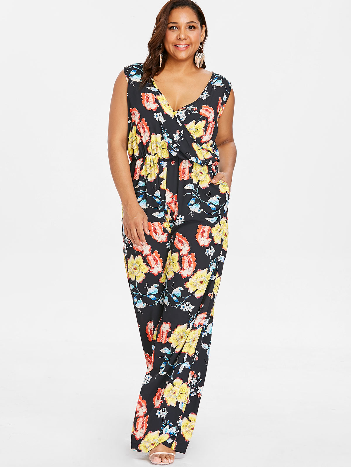 8424b79f1a7 Wipalo Plus Size Floral Floor Length Straight Pockets Palazzo Jumpsuit  Sleeveless Plunging Neck Wide Leg Surplice Jumpsuit 4XL-in Jumpsuits from  Women s ...