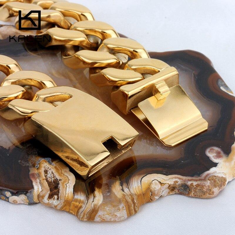 Kalen 70cm Lange Cubaanse Collier Rvs Dubai Goud Kleur 440g Zware Chunky Ketting Mannen's Accessoires - 4