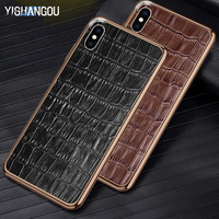 Luxury Crocodile Pattern Back Stickers Phone Case For iPhone X XR XS Max Real Leather+Metal Frame Cover For iPhone 6 6S 7 8 Plus