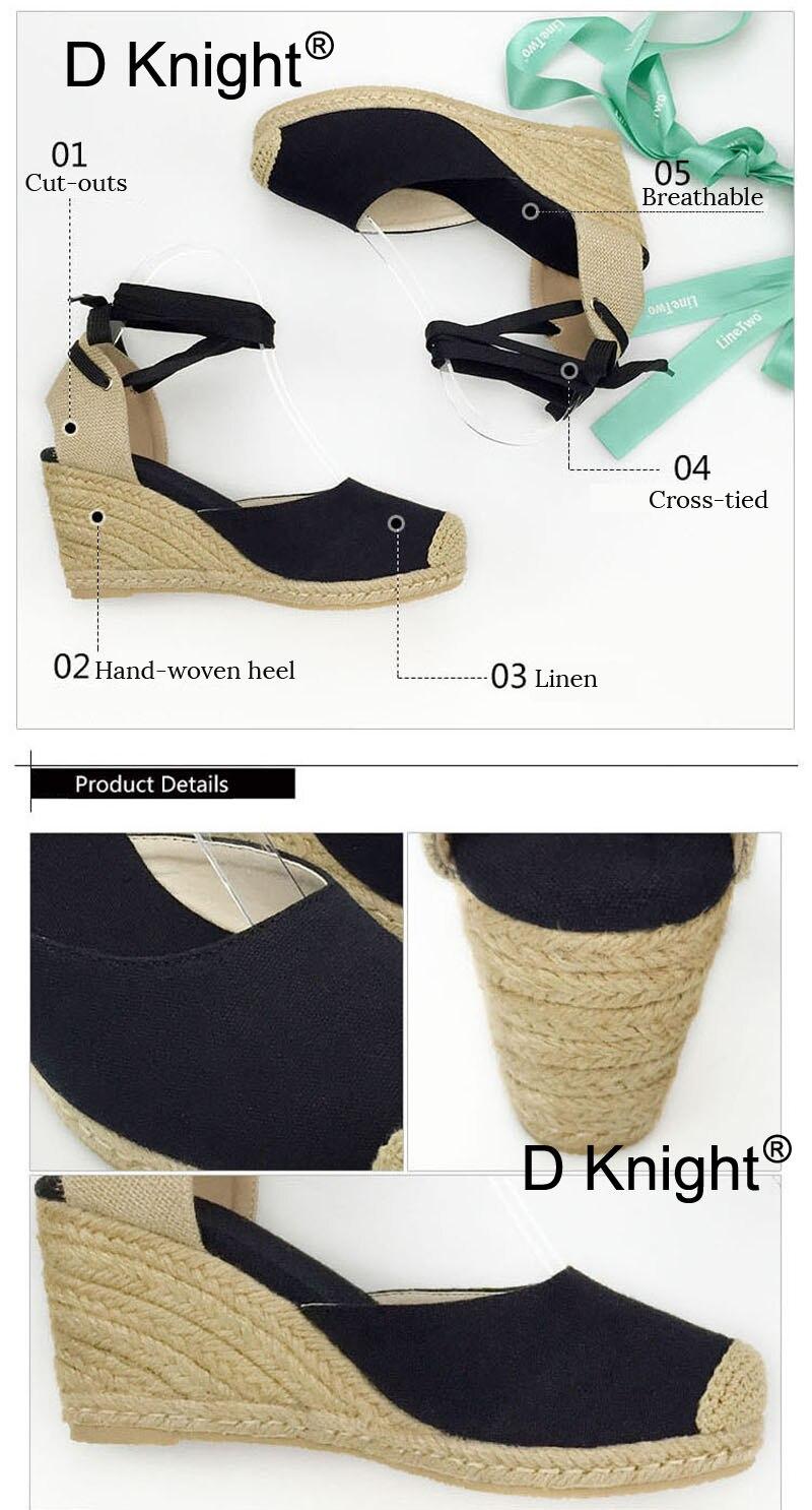 aa3bd75f4a0 Women Ankle Strap Espadrilles Wedge Sandals 2018 Summer Canvas High Heel  Fashion Lace up Women Platform ...
