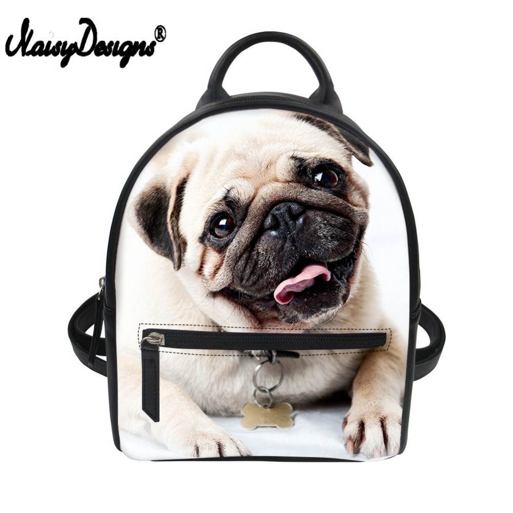 Customized Pug Dog Print Small School Backpack Pu Leather Mini Backpack Casual Daypack Women Shoulder Bag Teenager Girls Bagpack
