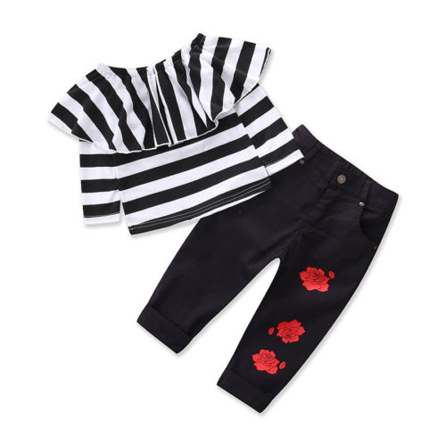 Toddler Kids Baby Girls Clothes Sets Off Shoulder Tops Long Sleeve T-shirts Flower Pants 2pcs Clothing Outfit Set Girl цена