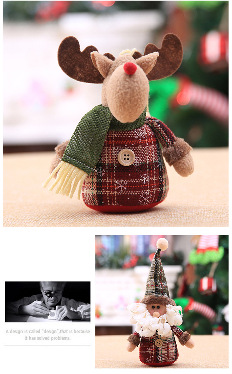2019 Merry Christmas Tree Ornaments Christmas Decorations for Home New Year gift Children Snowflake Elk Plaid Doll Hanging Natal (14)