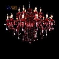 Светодиодный e14 Европейский кристалла железа Стекло люстры, красный светодиодный светильник светодиодный бордовый для фойе столовой гости