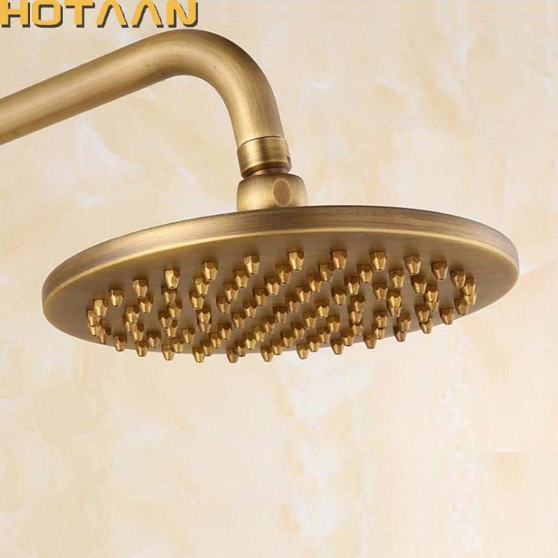 Free shipping 8 inch 20x20cm Round OverHead Rain Shower Head, Copper Shower Head, Anitque Brass Bathroom Shower,Chuveiro YT-5113 6 inch round brass shower head