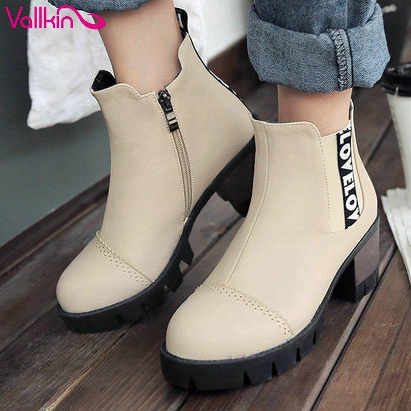 ФОТО VALLKIN Size 11 12 Platform Beige Casual Short  Boots Zipper Woman PU Square High Heel Ankle Boots Autumn Fashion Women Shoes