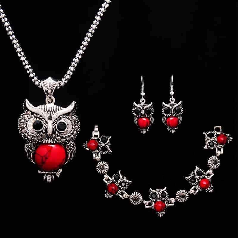 Lovely Red/Black Owl Jewelry Set For Women Fashion Necklace Charms Earrings Bracelet For Women Free Gift Popular Jewelry Set