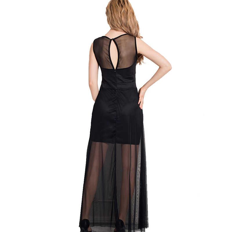 61b6c9d09a ... R70235 chiffon dress with floor-length sheer overlay maxi dresses long  hot sale sleeveless sweet ...