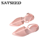 Brazilian Hot Women's Shoes Summer Flat Bottom Pointy Jelly Shoes Baotou Roman Plastic Fruit Sandals Female