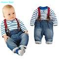 Юмор Медведь детская одежда прохладно мальчиков 3 шт. костюм (футболка + брюки + ремни) осень и зима детская одежда детская одежда носите