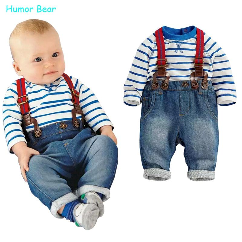 Humor Bear baby clothing set cool boys 3pcs suit (t-shirt+pant +straps) Autumn and winter infant garment kids clothes wear