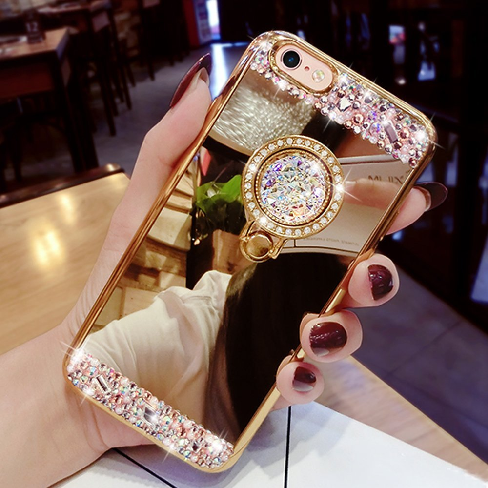 quality design b961c 2f6a0 US $4.34 |For iPhone X XS 8 Plus 7 7 Plus Case , Diamond Mirror With 360  Ring Stand Soft Case Cover For iPhone 6 6S Plus 5 5S 4 4S Case-in  Rhinestone ...