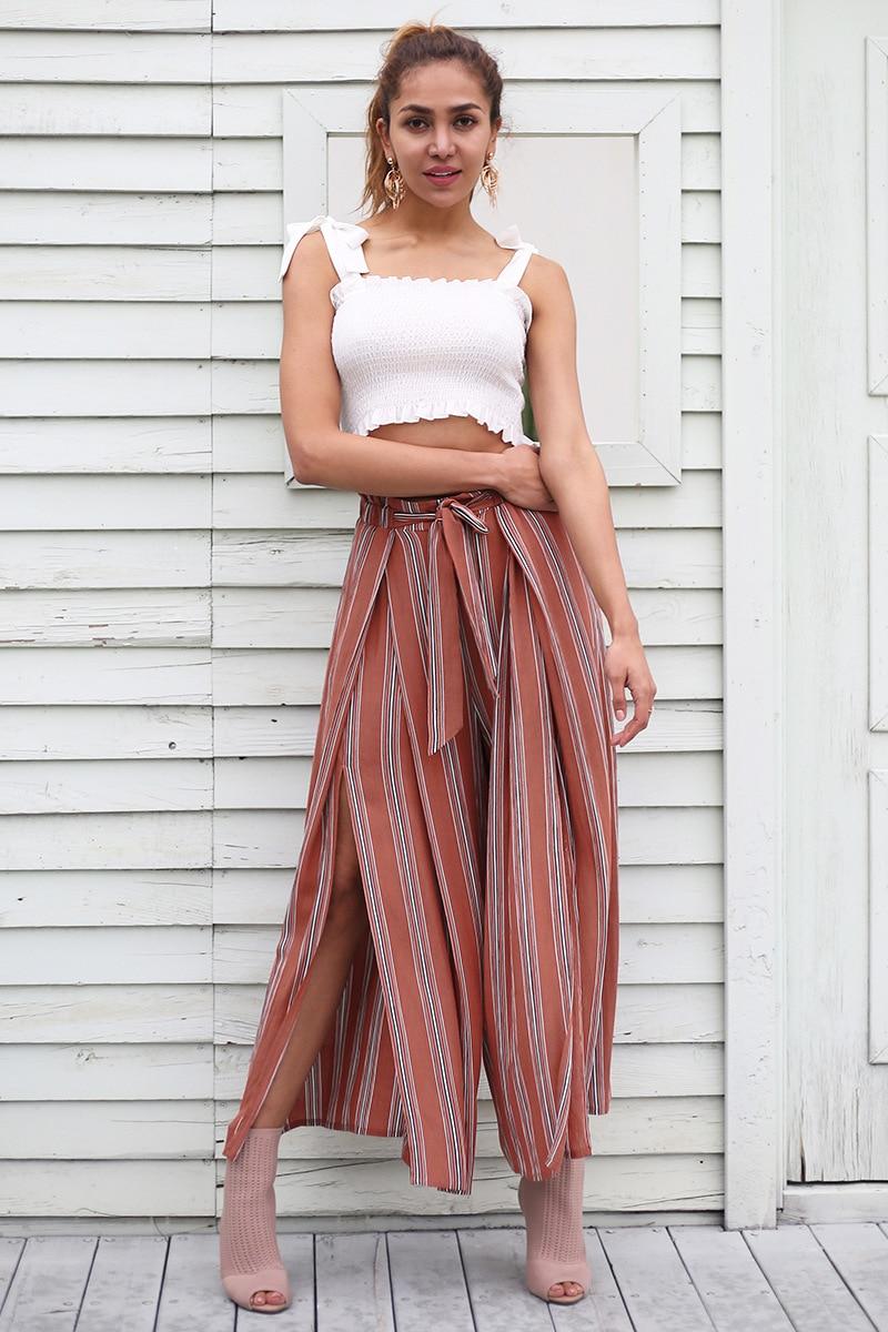 Fannic Split striped lady wide leg   pants   women Summer beach high waist trousers Chic streetwear sash casual   pants     capris   female
