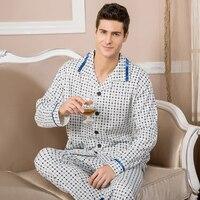 Male 100 Cotton Sleepwear Spring And Autumn Long Sleeve Set 100 Cotton Plus Size Plus Size