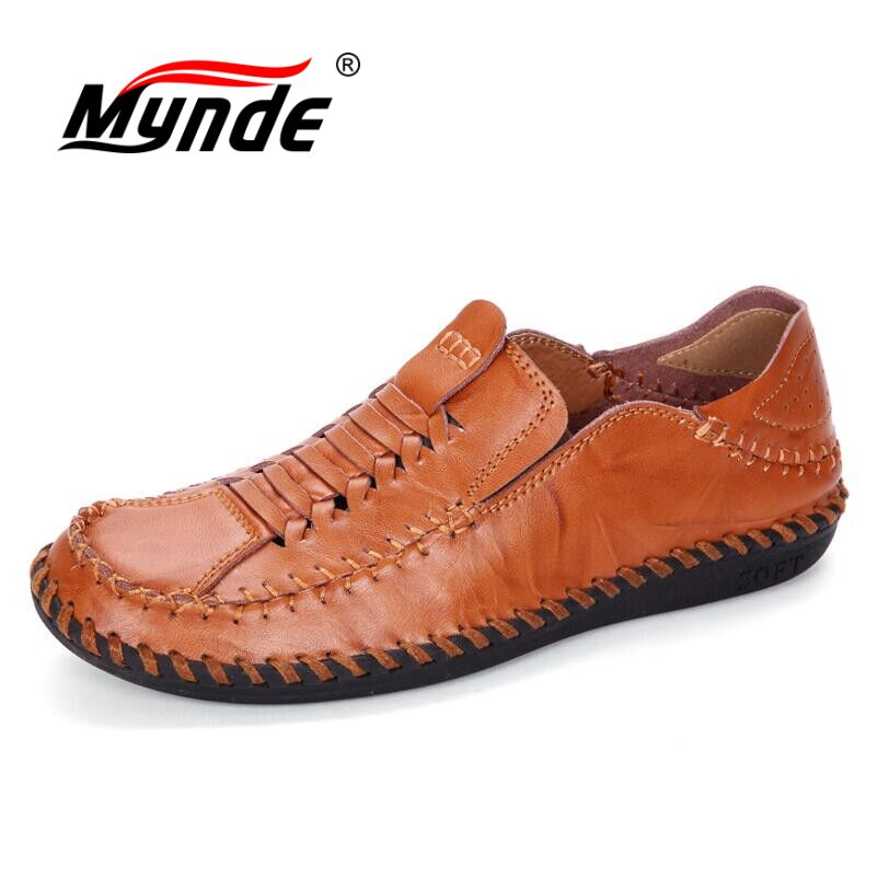 MYNDE 2018 New Men Loafers Luxury Brand Men Shoes Fashion Casual Male Shoes Slip On Men Leather Shoes Designer Leather Flats synthetic leather men shoes spring male casual shoes new 2017 fashion leather shoes loafers men s shoes flats zapatillas