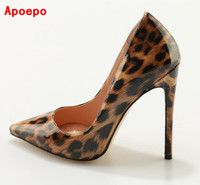 Sexy Leopard Petent Leather Shoes Woman High Heels Pumps 12CM Pointed Toe Stiletto Heels Dress Shoes