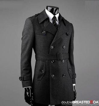 Grey fashion Double-breasted wool coat men 2016 trench jackets mens wool coats overcoats dress winter belt plus size S – 9XL
