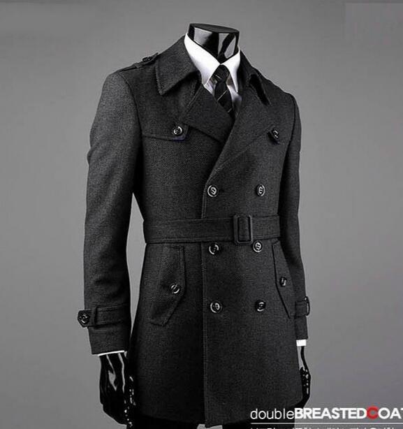 Grey fashion Double-breasted wool coat men 2020 trench jackets mens wool coats overcoats dress winter belt plus size S - 9XL