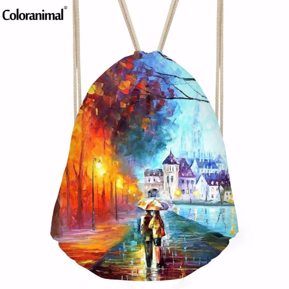 Coloranimal Romantic Oil Paintings Printing Drawstring Bag For Girls Mochoilas Fashion Softback String Backpack Cinch Sack Bags