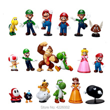цены на 18pcs Super Mario Bros Luigi Yoshi Donkey kong PVC Action Figures Peach Daisy Koopa Toad Miniatures Figurines Dolls Kids Toys  в интернет-магазинах