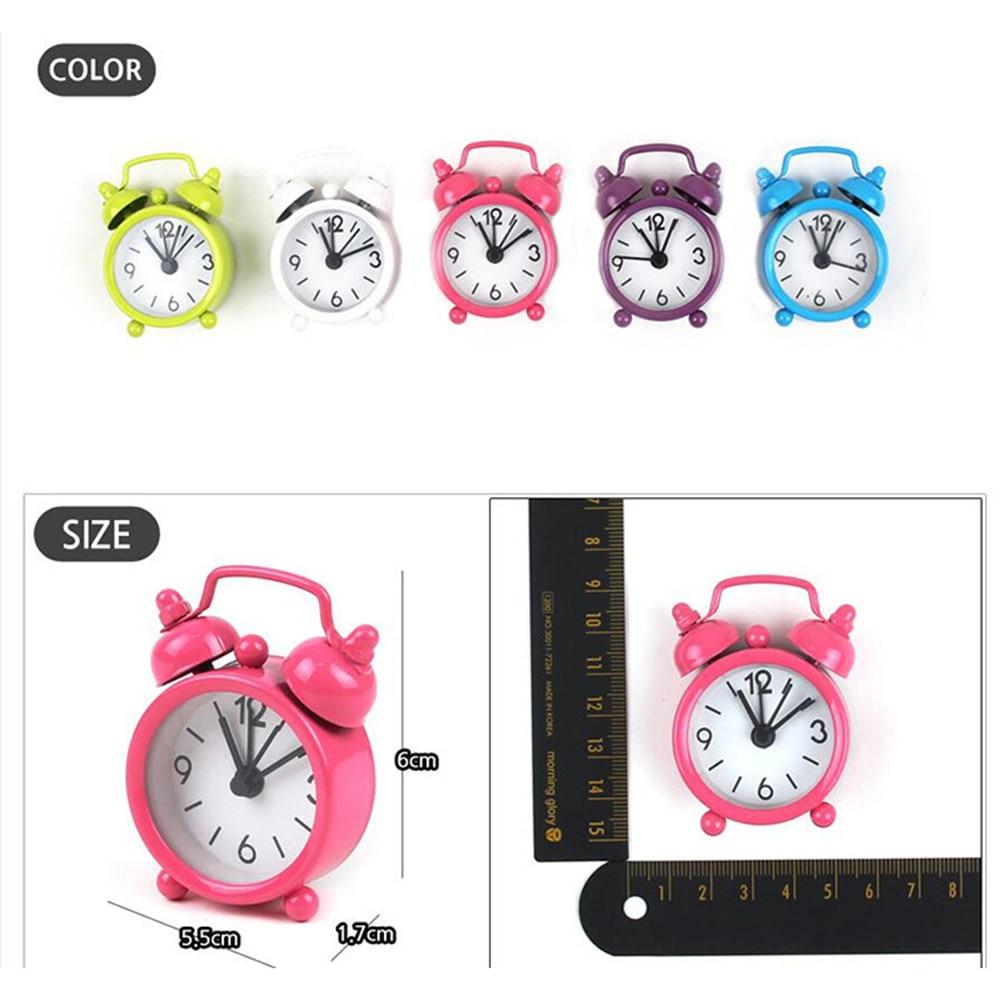 Clocks Portable Cute Cartoon Classic Kids Children Bedroom Alarm Clock Round Number Double Bell Desk Table Digital Clock Home Decor